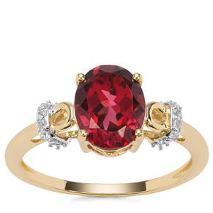 Umba River  Garnet Ring with White Zircon in 9K Gold 2.36cts