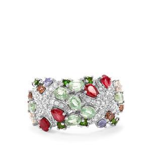 4.25ct Kaleidoscope Gemstones Sterling Silver Ring (F)