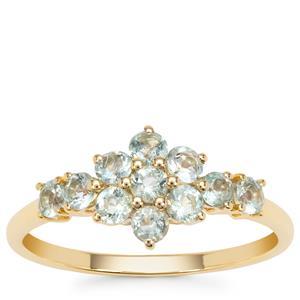 Aquaiba Beryl Ring in 9K Gold 0.63ct