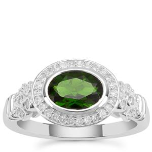 Chrome Diopside Ring with White Zircon in Sterling Silver 1.75cts