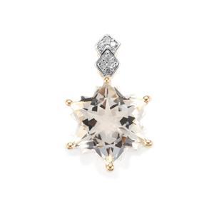 Itinga Petalite Wobito Snowflake Pendant with Diamond in 9K Gold 3.67cts
