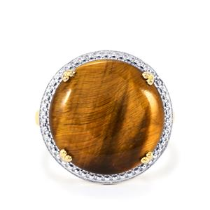 Tiger's Eye Ring in Gold Plated Sterling Silver 10.38cts