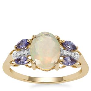 Ethiopian Opal, Tanzanite Ring with Diamond in 9K Gold 1.36cts