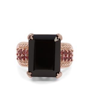 Black Spinel & Oyo Pink Tourmaline Rose Midas Ring ATGW 15.98cts