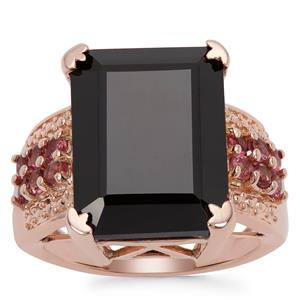 Black Spinel Ring with Oyo Pink Tourmaline in Rose Gold Plated Sterling Silver 15.98cts
