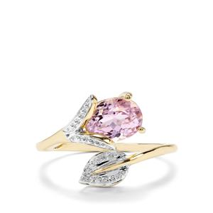 Kolum Kunzite & Diamond 9K Gold Arrow Design Ring ATGW 1.81cts