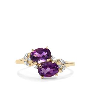 Moroccan Amethyst & Diamond 10K Gold Ring ATGW 1.45cts