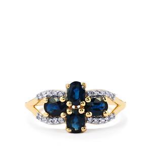 Australian Blue Sapphire & White Zircon 9K Gold Ring ATGW 1.48cts