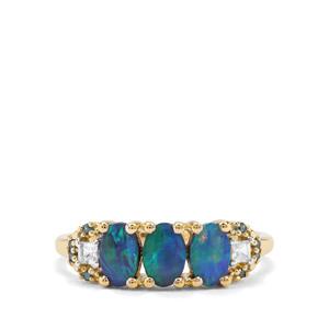 Crystal Opal on Ironstone, White Zircon & Blue Diamond 9K Gold Ring