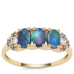 Crystal Opal on Ironstone, White Zircon Ring with Blue Diamond in 9K Gold