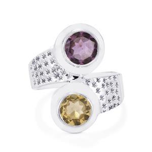 Bahia Amethyst & Diamantina Citrine Sterling Silver Aryonna Ring ATGW 3.00cts