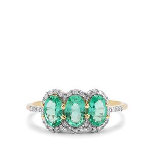 Ethiopian Emerald & Diamond 9K Gold Tomas Rae Ring ATGW 1.35cts