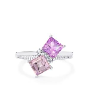 Moroccan Amethyst, Rose De France Amethyst Ring with White Topaz in Sterling Silver 2.06cts