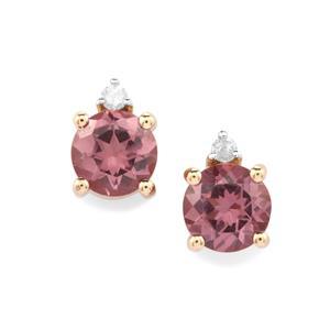 Mahenge Pink Spinel & Diamond 9K Gold Earrings ATGW 1.11cts