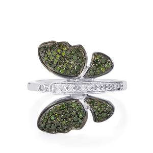 Green Diamond Ring with White Diamond in Sterling Silver 0.55ct
