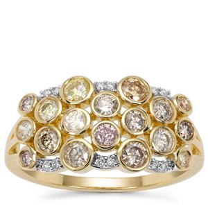 Multi-Colour Diamond Ring with White Diamond in 9K Gold 1.04cts
