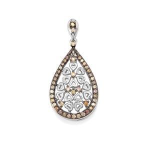 Multi-Colour Diamond Pendant in Sterling Silver 0.53ct
