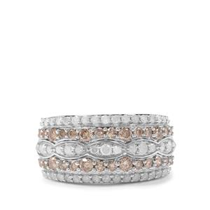 1.27ct Champagne & White Diamond Sterling Silver Ring