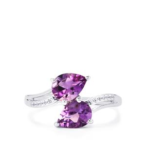 Moroccan Amethyst Ring with White Topaz in Sterling Silver 2.08cts