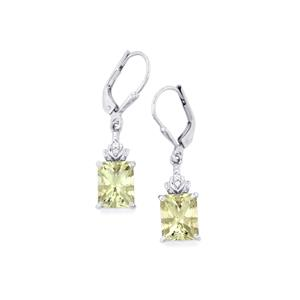 Prasiolite Earrings with White Topaz in Sterling Silver 4.81cts