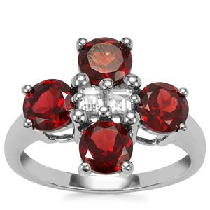 Octavian Garnet Ring with White Topaz in Sterling Silver 3.21cts