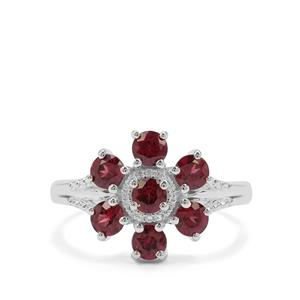 Tocantin Garnet Ring with White Zircon in Sterling Silver 1.76cts