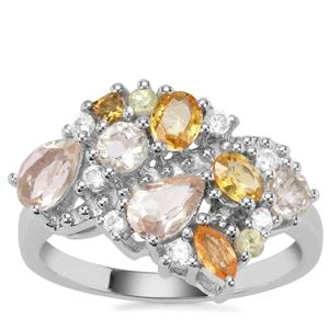2.14ct Sunrise Sterling Silver Shades Ring