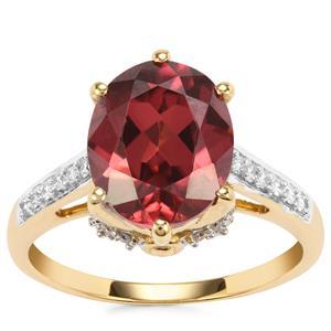 Zanzibar Sunburst Zircon Ring with Diamond in 18K Gold 5.32cts