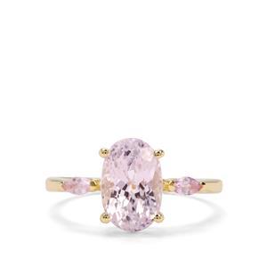 Natural Kunzite & Sakaraha Pink Sapphire 9K Gold Ring ATGW 3.43cts