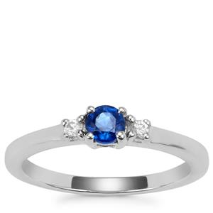 Daha Kyanite Ring with White Zircon in Sterling Silver 0.45ct