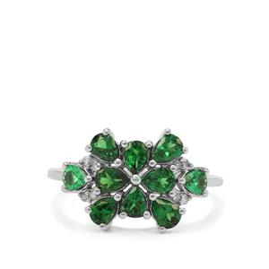 Tsavorite Garnet Ring with Diamond in 9K White Gold 1.55cts