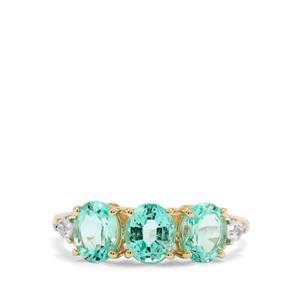 Siberian Emerald & White Zircon 9K Gold Tomas Rae Ring ATGW 2.34cts