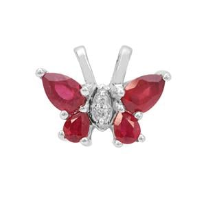 Malagasy Ruby Pendant with White Zircon in Sterling Silver 1.75cts