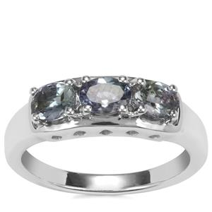 Bi Colour Tanzanite Ring in Sterling Silver 1cts