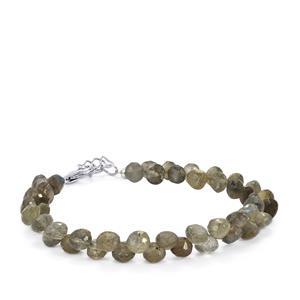47ct Labradorite Sterling Silver Graduated Bead Bracelet