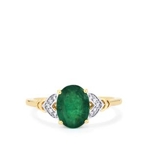 Minas Gerais Emerald Ring with White Zircon in 10k Gold 1.69cts