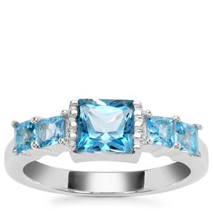 Swiss Blue Topaz  and Blue Topaz Ring  in Sterling Silver 2.08cts