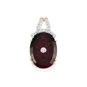 Lehrer TorusRing Nampula Garnet Pendant with Diamond in 18k Gold 9.74cts