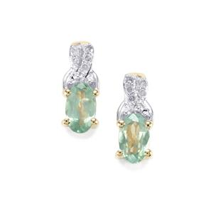 Alexandrite Earrings with Diamond in 10k Gold 0.59cts