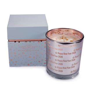 """""""New Year"""" Etched Glass Candle, Prosecco fragrance with Champagne Quartz ATGW 10cts"""