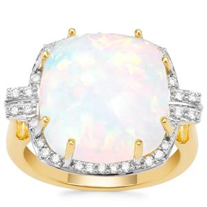 Ethiopian Opal Ring with Diamond in 18K Gold 9.20cts