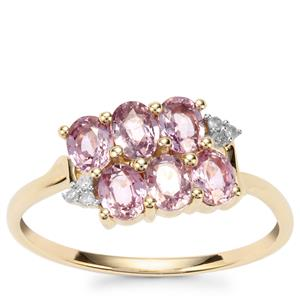 Sakaraha Pink Sapphire Ring with Diamond in 9K Gold 1.34cts