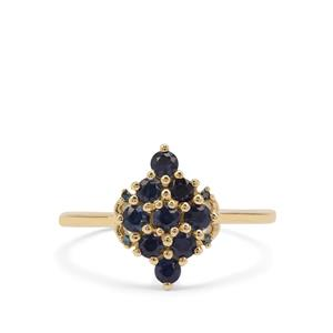 Australian Blue Sapphire Ring with Blue Diamond in 9K Gold 0.74ct