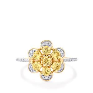 1.25ct Ceylon & White Zircon 9K Gold Ring