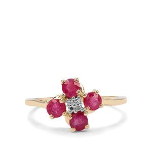 Burmese Ruby & Diamond 9K Gold Ring ATGW 1.11cts