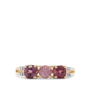 Mahenge Pink Spinel & Diamond 9K Gold Ring ATGW 1.22cts