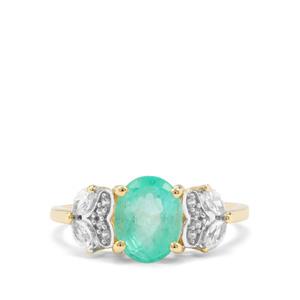 Malysheva Emerald & White Zircon 9K Gold Tomas Rae Ring ATGW 2.23cts