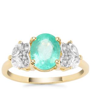 Malysheva Emerald Ring with White Zircon in 9K Gold 2.23cts