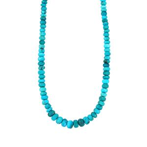 Sleeping Beauty Turquoise Graduated Bead Necklace in Sterling Silver 63cts