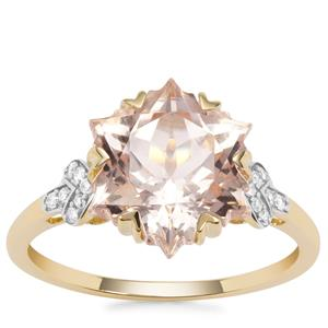 Wobito Snowflake Cut Zambezia Morganite Ring with Diamond in 9K Gold 4.33cts